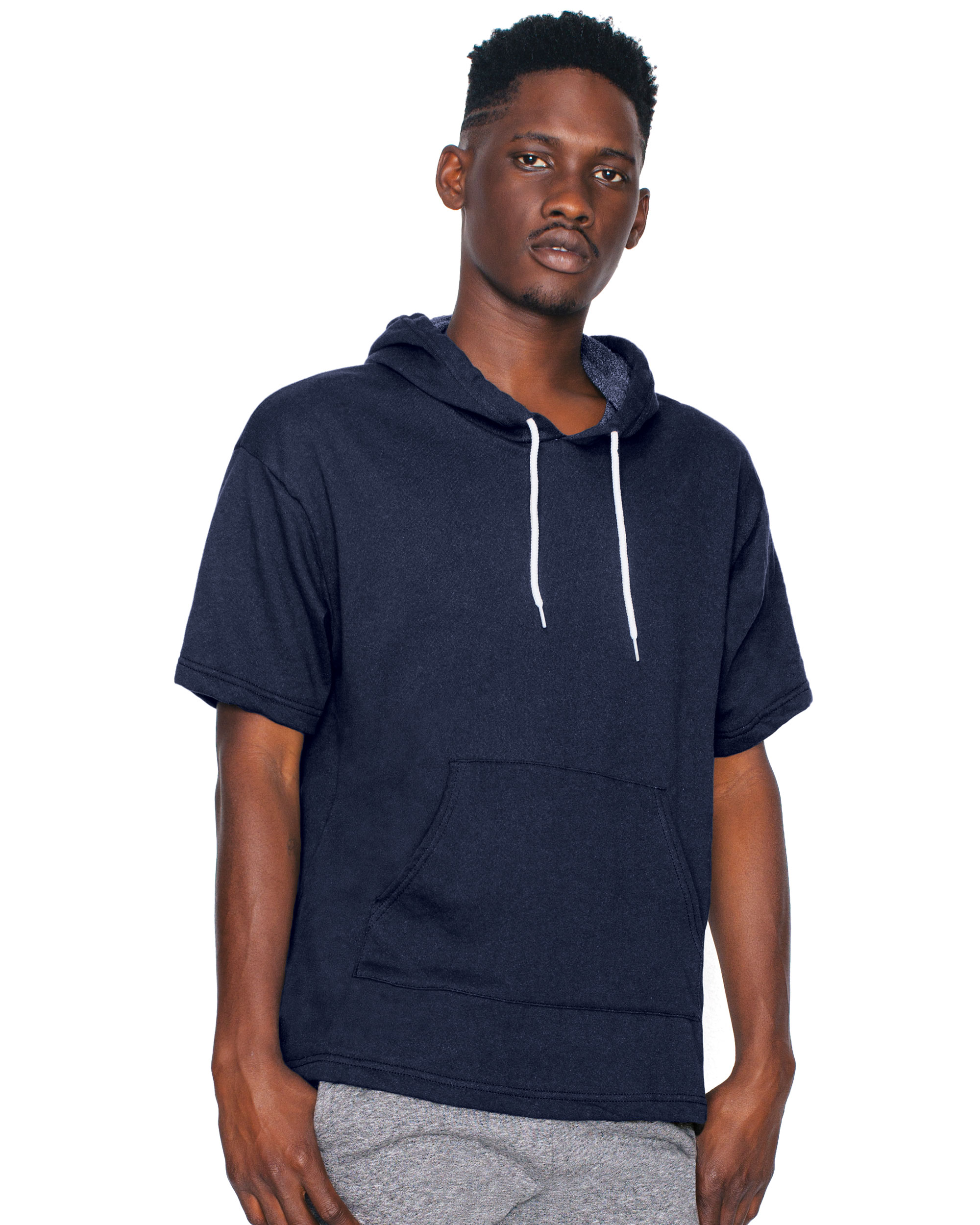 Unisex French Terry Short Sleeve Kangaroo Pullover Hoodie