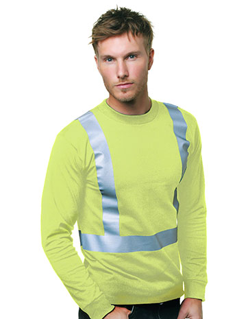 Hi-Visibility 50/50 Long Sleeve Crew Solid Striping