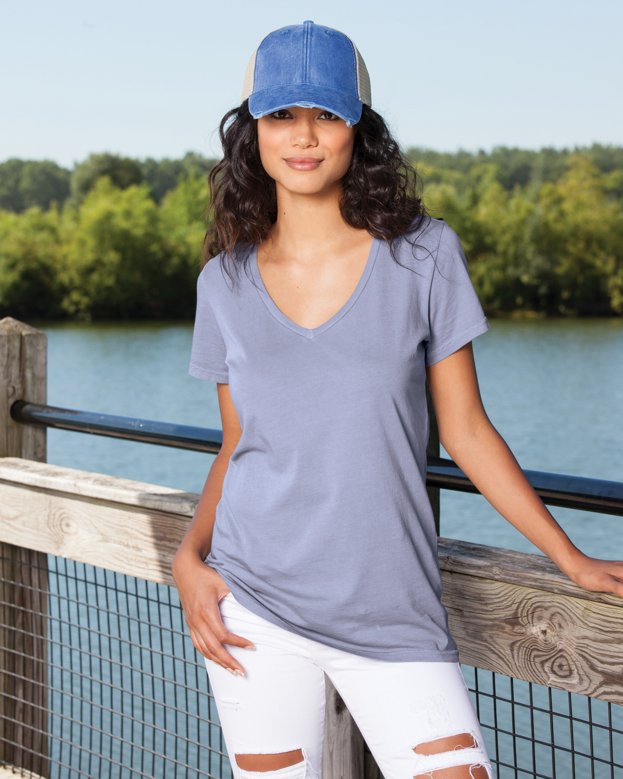 Ladies Garment Washed Chalk V-Neck Tee